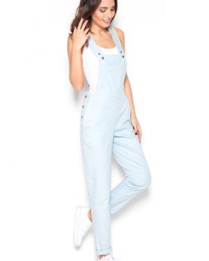 Dámské kalhoty s laclem KATRUS K380 světle modré