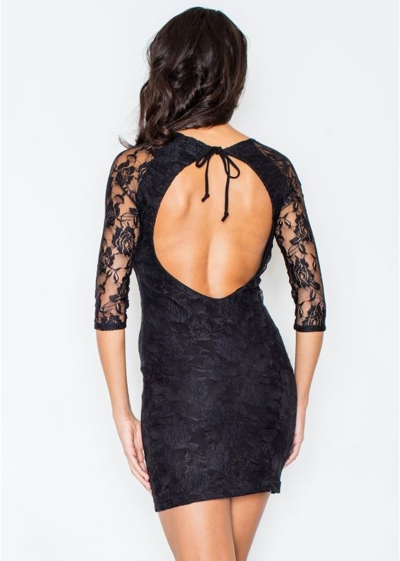 Dámské krajkové šaty FIGL M076 černé L