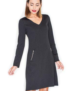 Dámské šaty s dlouhým rukávem KATRUS K078 černé